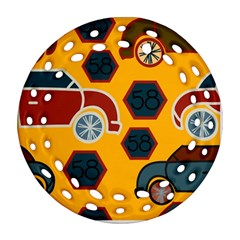 Husbands Cars Autos Pattern On A Yellow Background Ornament (Round Filigree)