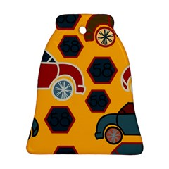 Husbands Cars Autos Pattern On A Yellow Background Bell Ornament (Two Sides)