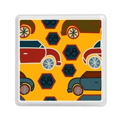 Husbands Cars Autos Pattern On A Yellow Background Memory Card Reader (Square)