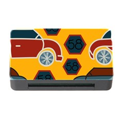 Husbands Cars Autos Pattern On A Yellow Background Memory Card Reader with CF