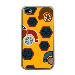 Husbands Cars Autos Pattern On A Yellow Background Apple iPhone 4 Case (Clear)