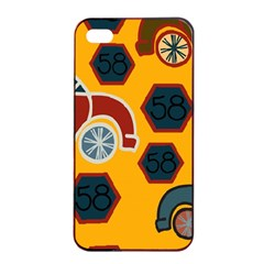 Husbands Cars Autos Pattern On A Yellow Background Apple Iphone 4/4s Seamless Case (black)
