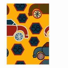 Husbands Cars Autos Pattern On A Yellow Background Small Garden Flag (Two Sides)