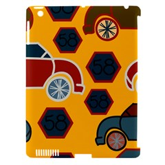 Husbands Cars Autos Pattern On A Yellow Background Apple iPad 3/4 Hardshell Case (Compatible with Smart Cover)