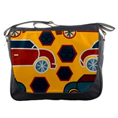 Husbands Cars Autos Pattern On A Yellow Background Messenger Bags