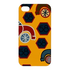 Husbands Cars Autos Pattern On A Yellow Background Apple Iphone 4/4s Premium Hardshell Case