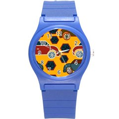 Husbands Cars Autos Pattern On A Yellow Background Round Plastic Sport Watch (S)