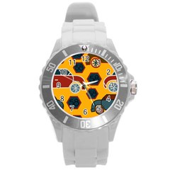 Husbands Cars Autos Pattern On A Yellow Background Round Plastic Sport Watch (L)