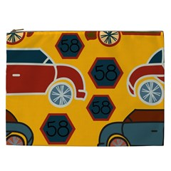 Husbands Cars Autos Pattern On A Yellow Background Cosmetic Bag (XXL)