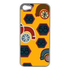 Husbands Cars Autos Pattern On A Yellow Background Apple iPhone 5 Case (Silver)