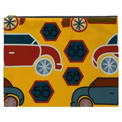 Husbands Cars Autos Pattern On A Yellow Background Cosmetic Bag (XXXL)