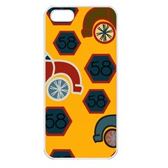 Husbands Cars Autos Pattern On A Yellow Background Apple iPhone 5 Seamless Case (White)