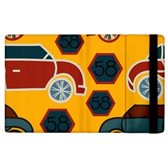 Husbands Cars Autos Pattern On A Yellow Background Apple Ipad 2 Flip Case