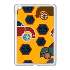 Husbands Cars Autos Pattern On A Yellow Background Apple Ipad Mini Case (white)