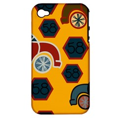 Husbands Cars Autos Pattern On A Yellow Background Apple Iphone 4/4s Hardshell Case (pc+silicone)
