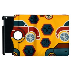 Husbands Cars Autos Pattern On A Yellow Background Apple Ipad 2 Flip 360 Case