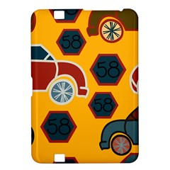 Husbands Cars Autos Pattern On A Yellow Background Kindle Fire HD 8.9