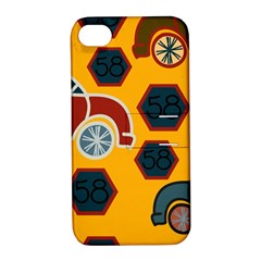 Husbands Cars Autos Pattern On A Yellow Background Apple iPhone 4/4S Hardshell Case with Stand