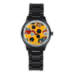 Husbands Cars Autos Pattern On A Yellow Background Stainless Steel Round Watch