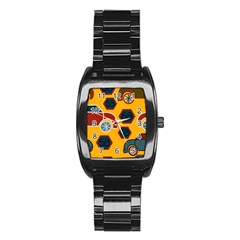 Husbands Cars Autos Pattern On A Yellow Background Stainless Steel Barrel Watch