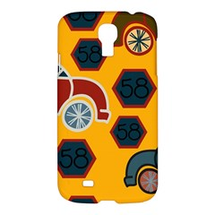 Husbands Cars Autos Pattern On A Yellow Background Samsung Galaxy S4 I9500/I9505 Hardshell Case
