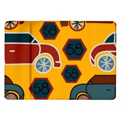 Husbands Cars Autos Pattern On A Yellow Background Samsung Galaxy Tab 10.1  P7500 Flip Case