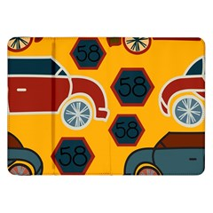Husbands Cars Autos Pattern On A Yellow Background Samsung Galaxy Tab 8.9  P7300 Flip Case