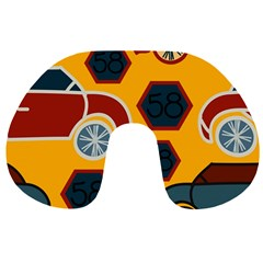 Husbands Cars Autos Pattern On A Yellow Background Travel Neck Pillows