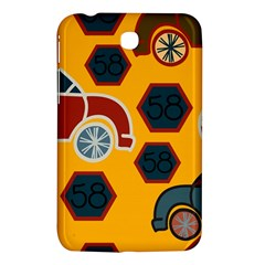 Husbands Cars Autos Pattern On A Yellow Background Samsung Galaxy Tab 3 (7 ) P3200 Hardshell Case