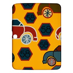 Husbands Cars Autos Pattern On A Yellow Background Samsung Galaxy Tab 3 (10 1 ) P5200 Hardshell Case