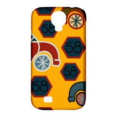 Husbands Cars Autos Pattern On A Yellow Background Samsung Galaxy S4 Classic Hardshell Case (PC+Silicone)