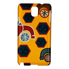 Husbands Cars Autos Pattern On A Yellow Background Samsung Galaxy Note 3 N9005 Hardshell Case