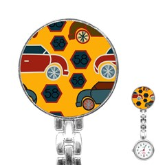 Husbands Cars Autos Pattern On A Yellow Background Stainless Steel Nurses Watch