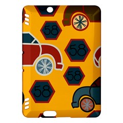 Husbands Cars Autos Pattern On A Yellow Background Kindle Fire HDX Hardshell Case