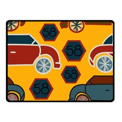Husbands Cars Autos Pattern On A Yellow Background Double Sided Fleece Blanket (Small)