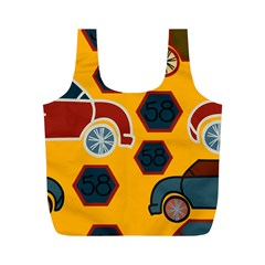 Husbands Cars Autos Pattern On A Yellow Background Full Print Recycle Bags (M)