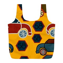 Husbands Cars Autos Pattern On A Yellow Background Full Print Recycle Bags (l)