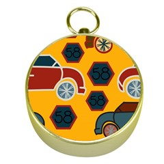 Husbands Cars Autos Pattern On A Yellow Background Gold Compasses
