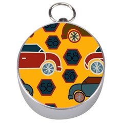 Husbands Cars Autos Pattern On A Yellow Background Silver Compasses