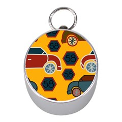 Husbands Cars Autos Pattern On A Yellow Background Mini Silver Compasses