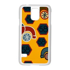 Husbands Cars Autos Pattern On A Yellow Background Samsung Galaxy S5 Case (white)