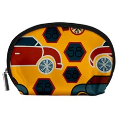 Husbands Cars Autos Pattern On A Yellow Background Accessory Pouches (Large)