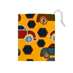 Husbands Cars Autos Pattern On A Yellow Background Drawstring Pouches (Medium)