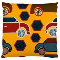 Husbands Cars Autos Pattern On A Yellow Background Large Flano Cushion Case (One Side)