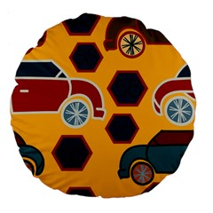 Husbands Cars Autos Pattern On A Yellow Background Large 18  Premium Flano Round Cushions