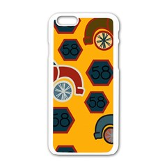 Husbands Cars Autos Pattern On A Yellow Background Apple Iphone 6/6s White Enamel Case