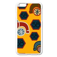 Husbands Cars Autos Pattern On A Yellow Background Apple Iphone 6 Plus/6s Plus Enamel White Case