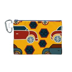 Husbands Cars Autos Pattern On A Yellow Background Canvas Cosmetic Bag (M)