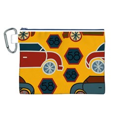 Husbands Cars Autos Pattern On A Yellow Background Canvas Cosmetic Bag (l)