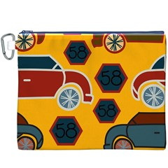 Husbands Cars Autos Pattern On A Yellow Background Canvas Cosmetic Bag (xxxl)